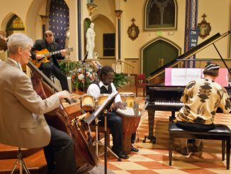 Rio Clemente, the Bishop of Jazz, performs at a concert to the benefit of Africa Surgery, in the Assumption Church, Morristown, NJ.